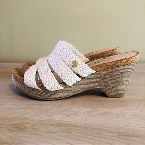 White Woven Leather Wedge Sandals 6 EUC